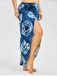Plus Size Tribal Print Tie Dye Palazzo Slit Pants - BLUE
