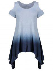 Ombre Asymmetrical Cold Shoulder Tee