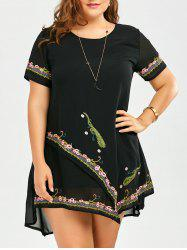 Embroidered Layered Plus Size Asymmetric Chiffon Dress