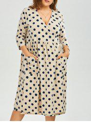Plus Size Polka Dot Trapeze Midi Wrap Dress