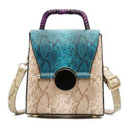 Snake Pattern Color Block Handbag - BLUE