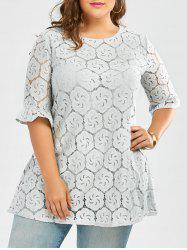 Plus Size Long Lace Hollow Out Blouse with Bell Sleeve