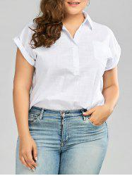 Plus Size Cuffed Sleeve Linen Shirt with Pocket