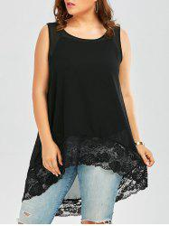 Plus Size Lace Trim  High Low Chiffon Flowy Top - BLACK