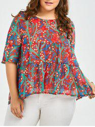 Plus Size Ruffled Chiffon Floral Top