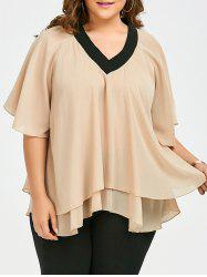 Plus Size Flounce V Neck  Chiffon Flowy Top