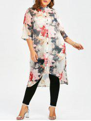 Plus Size Button Up Floral Translucent Chiffon  Flowy Top