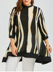 Two Tone Chiffon Plus Size Swing Tunic Top