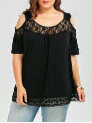 Plus Size Cold Shoulder Smock Top with Lace Trim