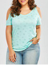 Plus Size Open Shoulder Plain T-Shirt - WINDSOR BLUE