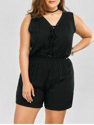 Plus Size Sleeveless Lace Up Palazzo Romper - BLACK