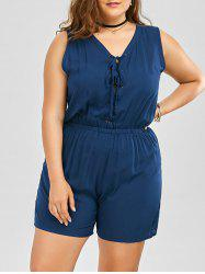 Plus Size Sleeveless Lace Up Palazzo Romper - DEEP BLUE