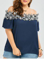 Flower Applique Embellished Plus Size Off The Shoulder Top - PURPLISH BLUE