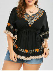 Plus Size Embroidered Lace Panel Kimono Blouse - BLACK