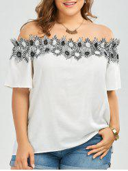 Flower Applique Embellished Plus Size Off The Shoulder Top - WHITE