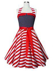 Vintage Halter American Flag Print Dress - BLANC POLKA DOT