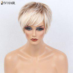 Siv Hair Colormix Short Side Bang Layered Silky Straight Human Hair Wig - WHITE AND BROWN