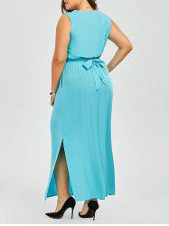 Plus Size Maxi Slit Dress With Pockets