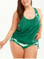 Plus Size Palm Leaf Faux Twinset Swimwear - GREEN