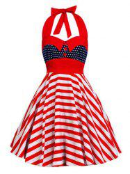 Backless Halter American Flag Vintage Dress - Etoile style M