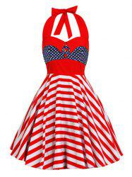 Backless Halter American Flag Vintage Dress -