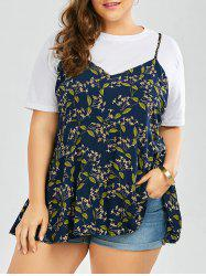 Plus Size Floral Back Slit Cami Flowy Top