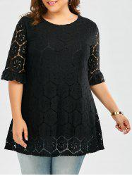 Flounce Bell Sleeve Plus Size Lace Blouse