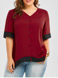 Button Up Plus Size Top - WINE RED