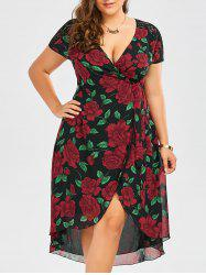 Lace Panel Floral Print Asymmetrical Wrap Dress - BLACK