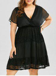 Plus Size Batwing Sleeve Lace Panel Surplice Dress