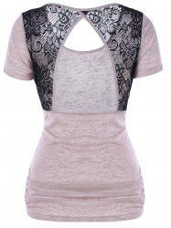 Lace Panel Open Back T-Shirt