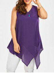 Plus Size Sleeveless V Neck Asymmetric Tank Top - DEEP PURPLE