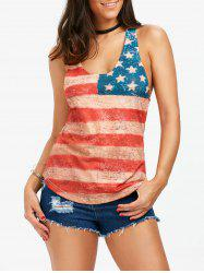 American Flag Patriotic Lace Back Racerback Tank