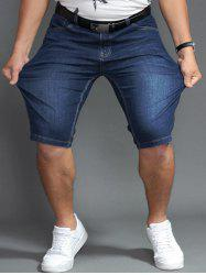 Plus Size PU Label Design Denim Shorts - DENIM BLUE