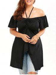 Off Shoulder Empire Waist Plus Size Tunic Blouse