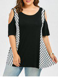 Plus Size Cold Shoulder Long Striped T-Shirt - BLACK
