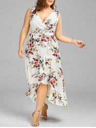 Plus Size Overlap Flounced Tiny Floral Dress - WHITE