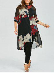 Plus Size Button Up Printed Chiffon Flowy Tunic Top - RED