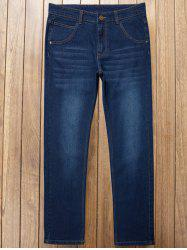 Straight Leg Zipper Fly Plus Size Jeans