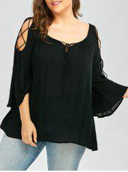 Lace-Up Plus Size Top - BLACK 5XL
