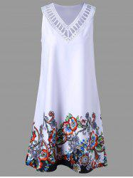 Floral Sleeveless Ladder Detail Dress - WHITE 2XL
