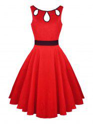 Hollow Out Vintage Skater Dress - Rouge 2XL