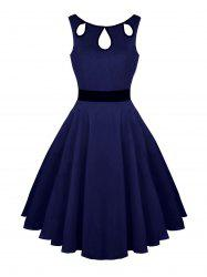 Hollow Out Vintage Skater Dress - Bleu Violet M