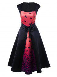 Butterfly Print Bowknot Embellished Square Neck Dress