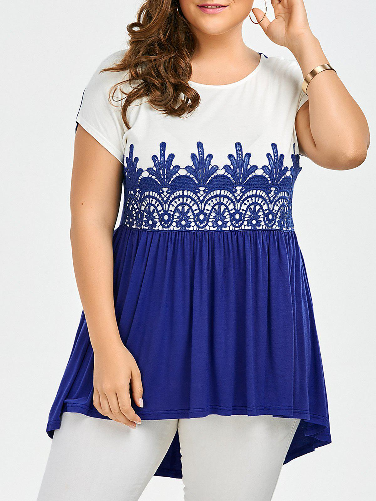 Lace Panel Plus Size High Low TopWOMEN<br><br>Size: 4XL; Color: BLUE AND WHITE; Material: Rayon,Spandex; Shirt Length: Regular; Sleeve Length: Short; Collar: Round Neck; Style: Casual; Season: Summer; Embellishment: Lace; Pattern Type: Patchwork; Elasticity: Elastic; Weight: 0.3200kg; Package Contents: 1 x Top;