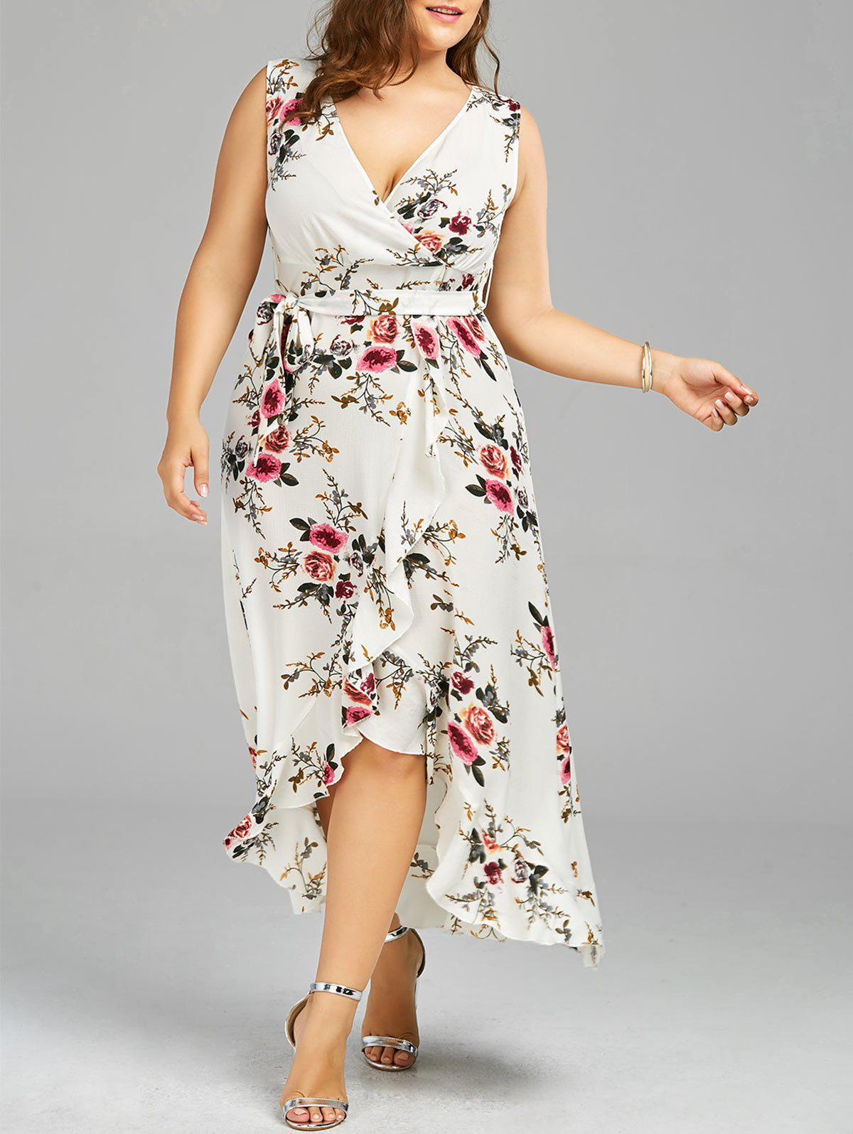 Plus Size High Low Long Floral DressWOMEN<br><br>Size: 3XL; Color: WHITE; Style: Bohemian; Material: Polyester; Silhouette: A-Line; Dresses Length: Ankle-Length; Neckline: Plunging Neck; Sleeve Length: Sleeveless; Pattern Type: Floral; With Belt: Yes; Season: Summer; Weight: 0.3700kg; Package Contents: 1 x Dress  1 x Belt;