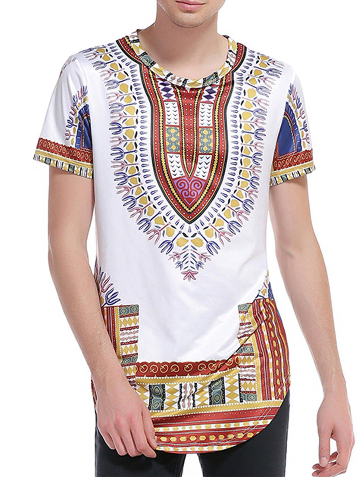 Buy Short Sleeve Ethnic Style Print Curve Bottom T-Shirt