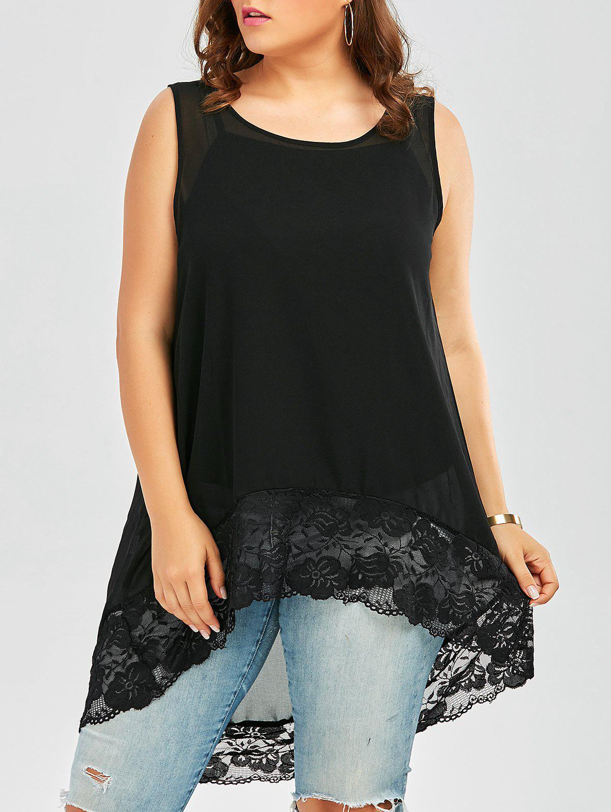 Plus Size Lace Trim  High Low Chiffon Flowy TopWOMEN<br><br>Size: 4XL; Color: BLACK; Material: Cotton Blends,Polyester; Fabric Type: Chiffon; Shirt Length: Long; Sleeve Length: Sleeveless; Collar: Scoop Neck; Style: Fashion; Season: Spring,Summer; Embellishment: Lace; Pattern Type: Solid; Weight: 0.1800kg; Package Contents: 1 x Top;