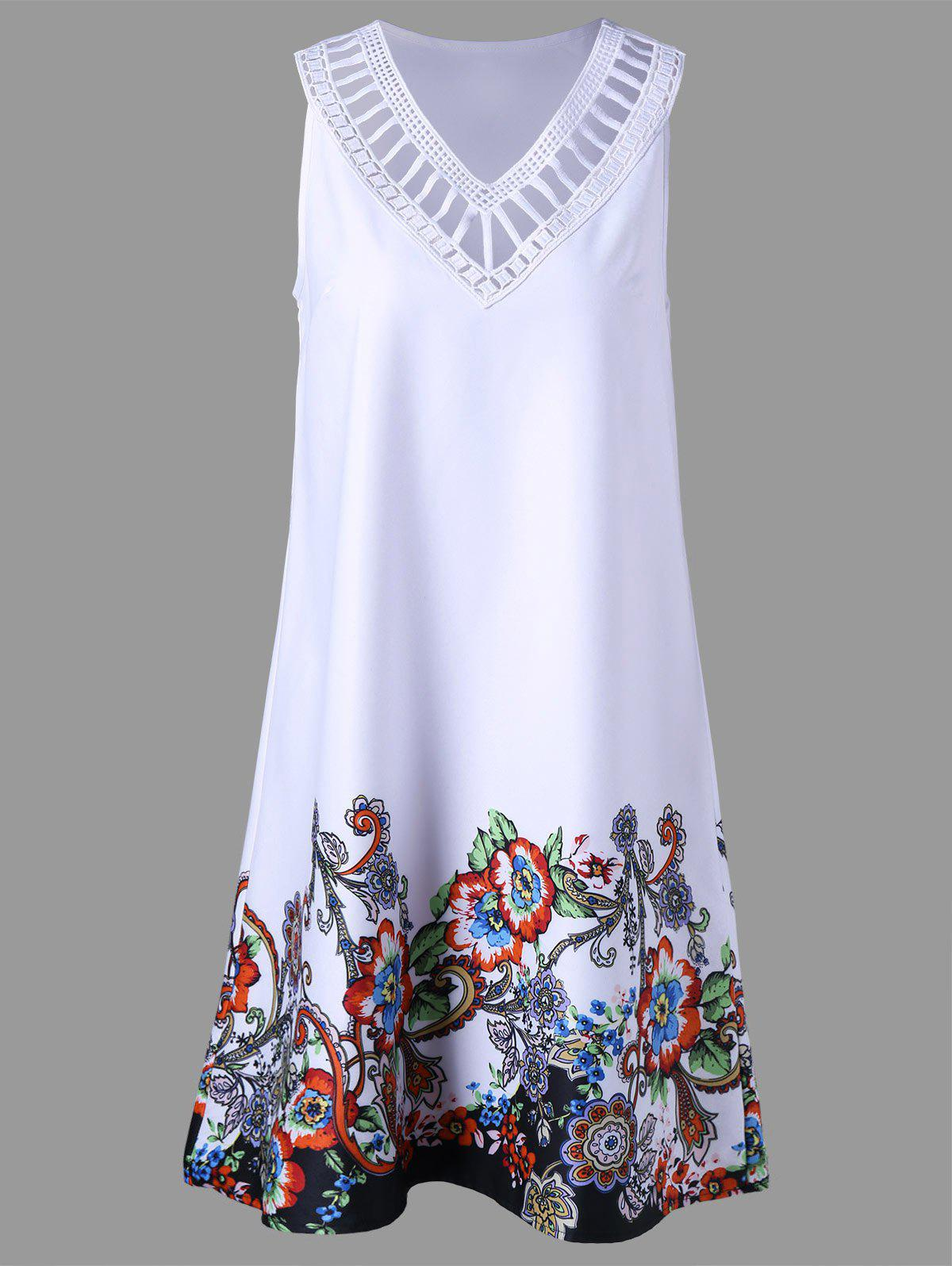 Floral Sleeveless Ladder Detail DressWOMEN<br><br>Size: L; Color: WHITE; Style: Casual; Material: Polyester; Silhouette: A-Line; Dresses Length: Knee-Length; Neckline: V-Neck; Sleeve Length: Sleeveless; Pattern Type: Floral; With Belt: No; Season: Summer; Weight: 0.4400kg; Package Contents: 1 x Dress; Occasion: Going Out,Outdoor,Party;