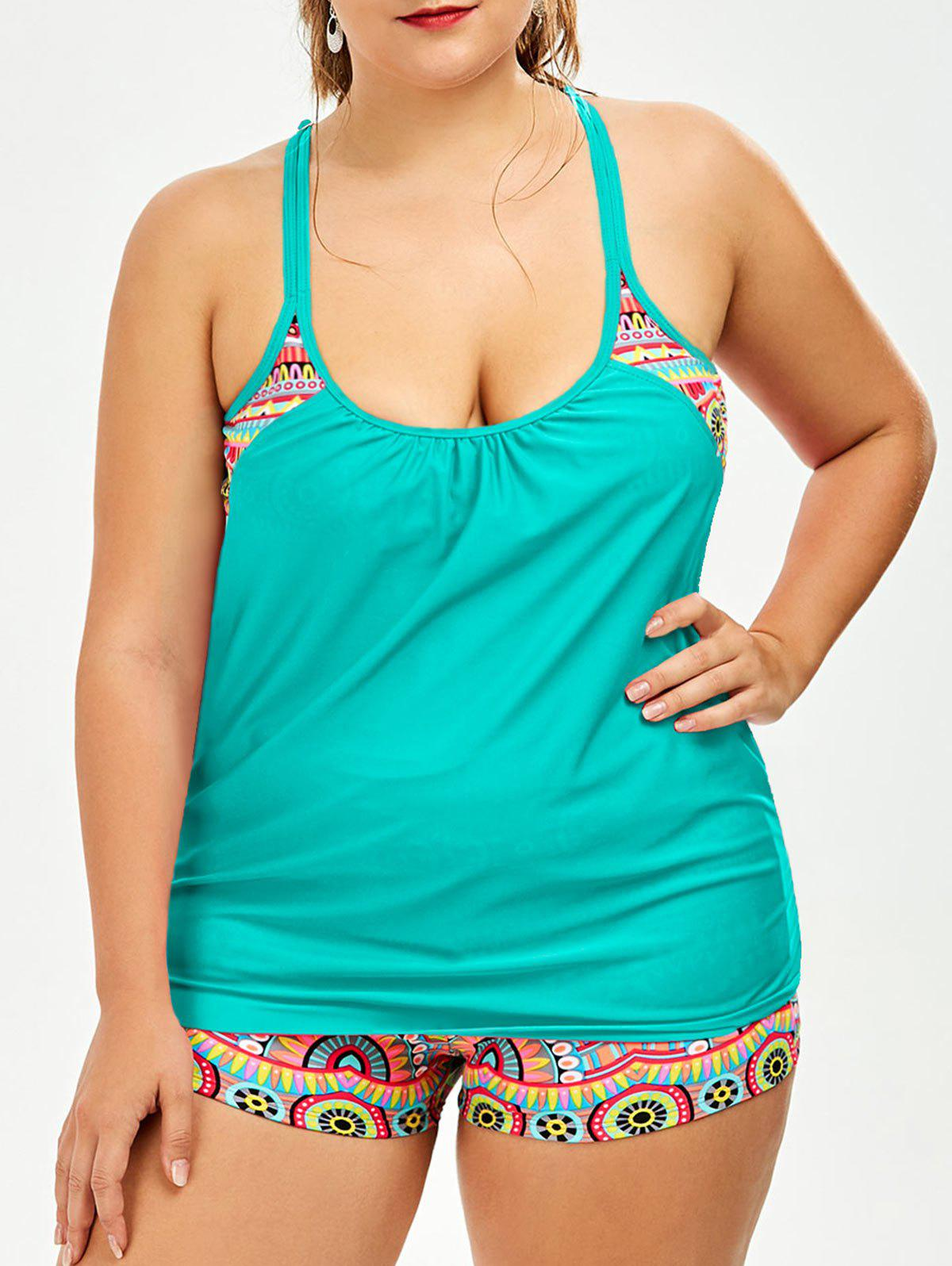 Outfits Printed Padded Bra Plus Size Tankini